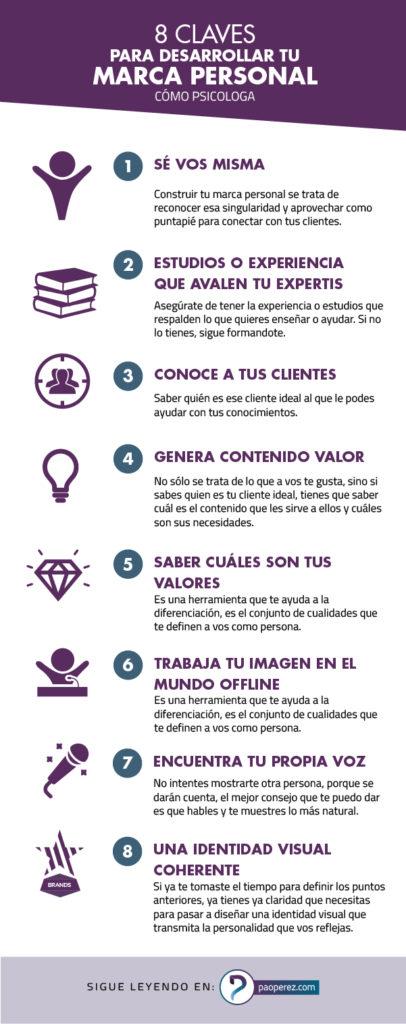 8 claves para desarrollar tu marca personal y posicionarte como psicóloga o coach de desarrollo personal.